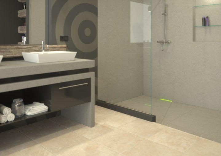 Aranżacja łazienki z odpływem ściennym Scada LED z pokrywą do wklejenia płytki