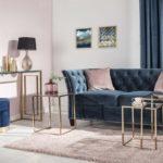 Dekoria.pl, komplet stolików Rush rose gold, lampa Ibble