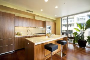 Modern kitchen with wood cabinetry
