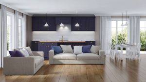 Niebieski-odcień-świetnie-zaprezentuje-się-również-w-kuchni.-Na-zdjęciu-panele-podłogowe-Wiparquet-Authentic-8-Narrow-Dąb-Naturalny-od-RuckZuck